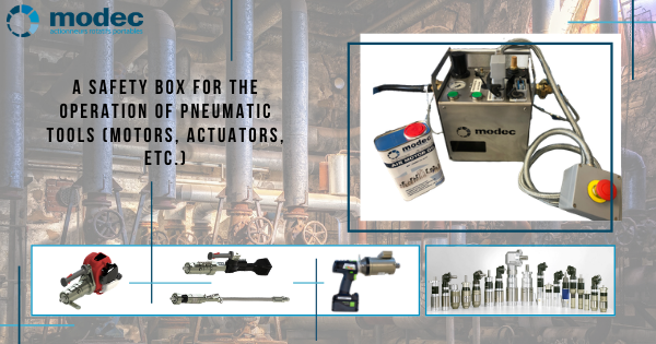 A safety box for the operation of pneumatic tools (motors, actuators, etc.)